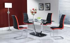 DANIELA RED D716DT D4511DC TABLE & 4 CHAIRS GLOBAL 5PC BLACK DINING SET