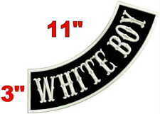 "WHITE BOY MOTORCYCLE BIKER MC CLUB VEST 11"" SIDE BOTTOM ROCKER PATCH 5 COLORS"