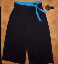 NWT Bloch Black Wide Leg Capri Gaucho Pants Sea Blue Tie Small Adult T8002P