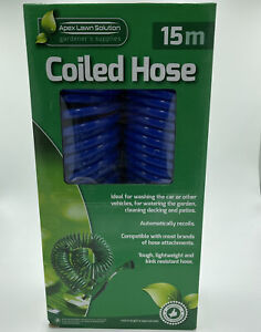 Coiled Hose 15m Apex Lawn Solution Gardeners Supplies Blue
