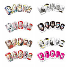 Halloween Horrible Nail Art Water Transfer Stickers Decal Full Nail Tip Skull#