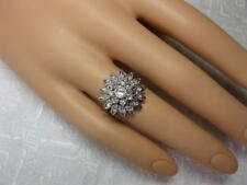 22 Diamond Ring Flower Motif 14K White Gold Art Deco Hollywood Regency Cocktail