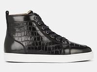 Christian Louboutin Mens Rantus Flat Ardesia Black Croc High Top Sneaker 46 13