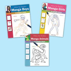 Set of THREE How to Draw books - MANGA bundle: Boys, Girls, Manga Animals