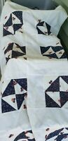 "UNFINISHED QUILT TOP, TABLECLOTH  BLUE CREAM RED SQUARES  COTTON BLEND 96"" x 80"""