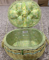 Vintage DRITZ Made in Japan Wicker Sewing Basket - Yellow & Green Satin Lining.