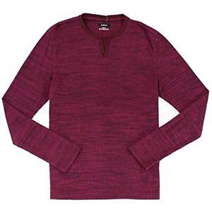 MSRP $50 Alfani Mens Textured Henley Shirt Purple Size Medium