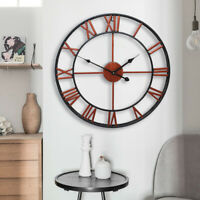 "16"" Outdoor Large Round Wall Clock Antique Roman Numeral for Living Room Office"