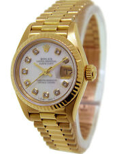 Rolex President Datejust White Mother of Pearl Diamonds 18K Gold Ref. 69178 26mm