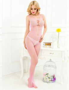 Slutty Womens Bodystocking Lingerie Stretchy Sexy Easy Access Porn Star Outfit