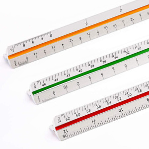 """12"""" Triangular Architect Scale Ruler (Professional Grade Metal) Color Coded"""