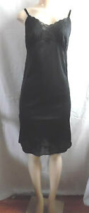 -NEW BLACK VINTAGE CAMISOLE SLIP NIGHTGOWN STRAPS NYLON LACE SIZE XS or 34