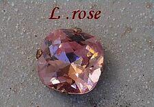 1 cabochon carré 12 mm serti light rose, cristal de swarovski.