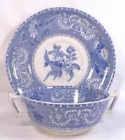 Copeland Spode Camilla Cream Soup Bowl & Saucer Blue Transferware Vintage