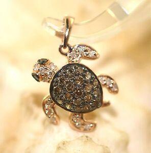 14MM 14K ROSE GOLD 0.36CTS BROWN & MIXED DIAMONDS HAWAIIAN TURTLE CHARM PENDANT