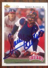 Sandy Alomar Jr. Hand Signed 1992 Upper Deck Baseball Card Cleveland Indians