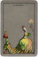 Playing Cards 1 Swap Card - Vintage ENN English Named LA MARQUISE Crinoline Lady