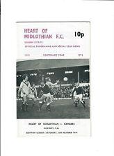 Hearts v Rangers - 26/10/1974