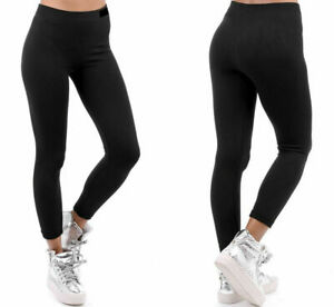 Womens Girls Leggings Thermal Thick Fleece Winter Warm Gym Black Sizes 8-18 UK