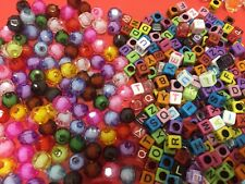 100 bead mix transparent barrel charm hair braid craft assorted colours cube