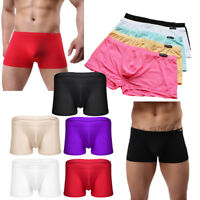 Mens Sexy Ice Silk Boxer Brief Underwear Bikini Underpants Shorts Trunks Thongs