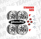 YearOne Rally II Pontiac Staggered Wheel Kit With Red Center Caps 17x8 17x9