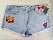 Women's Mossimo Denim High Rise Shorts Size 18 Patriotic July 4th Frayed Patches