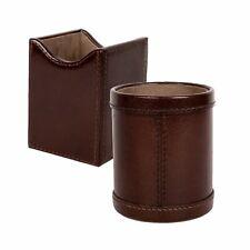 Pen Pencils Desk Holder Cup Case Handicraft Organizer Genuine Leather