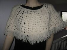 New Monsoon soft Cream Lambswool crochet short wrap shawl shrug Boho Hippy M