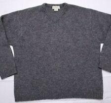 Vintage J Crew Mens Size Large Shetland Wool V-Neck Long Sleeve Sweater Gray A65