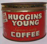 Vintage 1940s HUGGINS YOUNG COFFEE KEYWIND COFFEE TIN 1 POUND VERNON CALIFORNIA