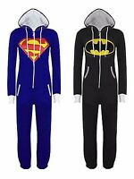 New Womens Mens Superman Batman Onesie Playsuit Ladies All In One Piece Jumpsuit