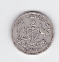 1910 Sterling Silver Shilling Coin Australia Metal Flaw variety R-589