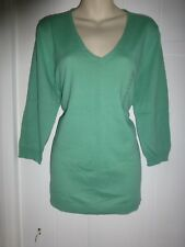 BNWT GAP XL green fine knit v-neck 3/4 sleeve jumper RRP £24.99