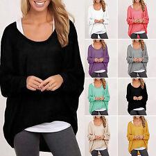 donna oversize manica lunga larga casual maglione largo maglione maglia t-shirt