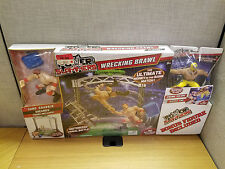 Mattel WWE Power Slammers Wrecking Brawl Ring with Sheamus and Rey Mysterio, New