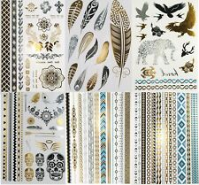 Super Metallic Gold Silver Black Jewelry Temporary Bling Tattoo 6 Sheets