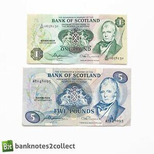 SCOTLAND: Set of 2 Bank of Scotland Banknotes.