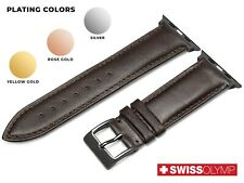 For APPLE WATCH 1 2 3 4 5 6 BROWN Genuine Leather Strap Band Bracelet Buckle