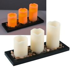 3er Set LED Wax Candles With Deco Wooden Tray Stones Flickering Real Wax Candle