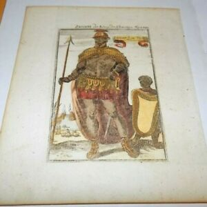 MALLET Original 1685 Engraving Zaogani Senegal Gambia African King Africa