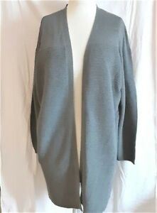 Lord & Taylor Cardigan 2x Long Duster Open Front Gray NWT $120