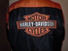Men's Harley-Davidson Jacket sz L Full Zip Orange/Black Nylon- 97068-00V