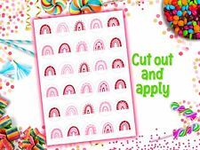 Valentines Day Rainbows Edible Wafer Paper Cupcake Toppers Pink Red Birthday