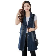 Womens Denim Vest Casual Cowboy Tank Top Lapel Double Breasted Sleeveless Coat