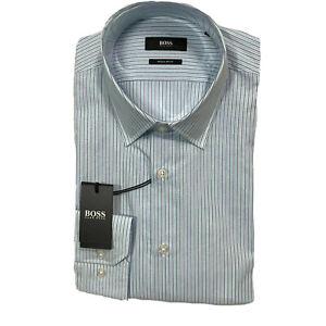 Hugo Boss Black Label Enzo Dress Shirt 15.5 32/33 Regular Fit Blue Striped NWT