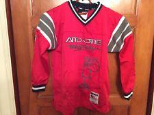 AND1 Boys SZ M 10 V-neck Pullover Basketball Sweatshirt Red Black Gray