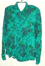 Vtg 80s 90s Croquet Club Floral Teal Padded Shoulder Long sleeve boho top M/L