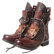 Real Leather Women Retro Lace Ups Studded Leisure Chunky Heel Ankle Motor Boots