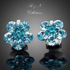 Platinum Plated Blue Made With SWAROVSKI Crystal Flower Stud Clip Earrings